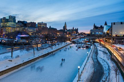Picture of people ice skating on the Rideau Canal - Ottawa, Canada