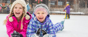 Infectious smiles on kids in snow