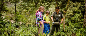 Kids learning about nature on a trail in Costa Rica